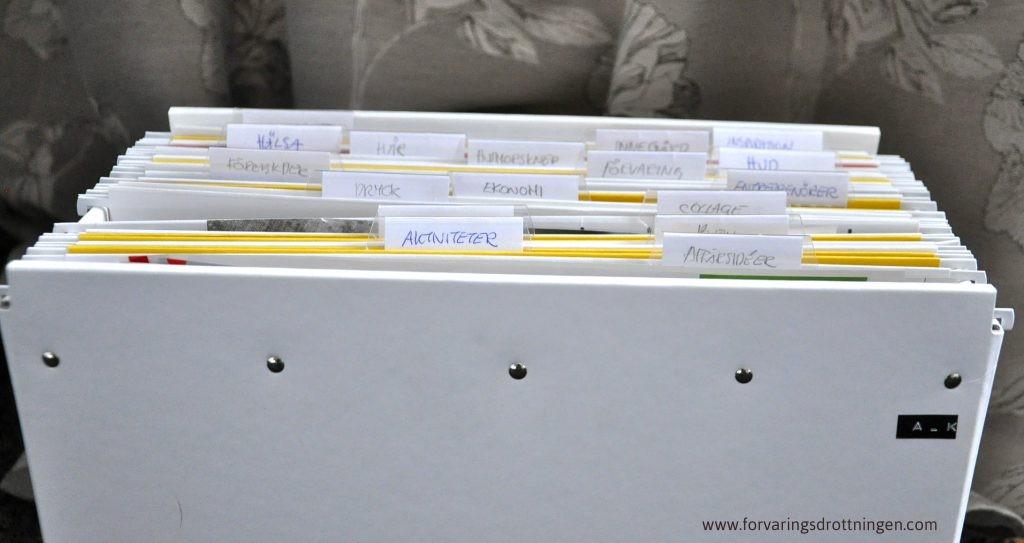 spara tidningsartiklar i hängmappar