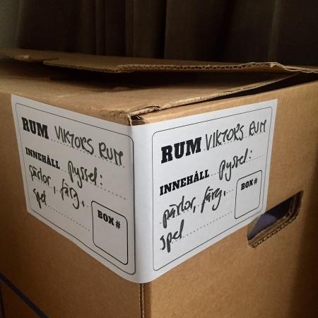 etikett låda