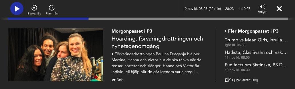 Morgonpasset i P3 Förvaringsdrottningen Paulina Draganja
