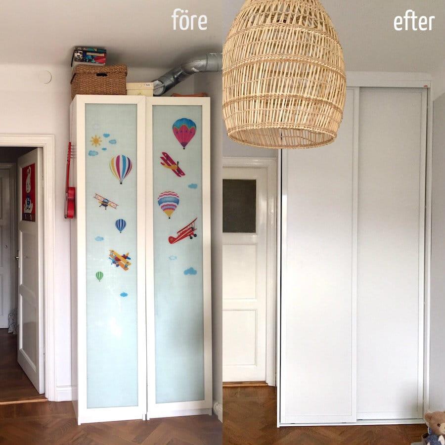 före och efter garderob
