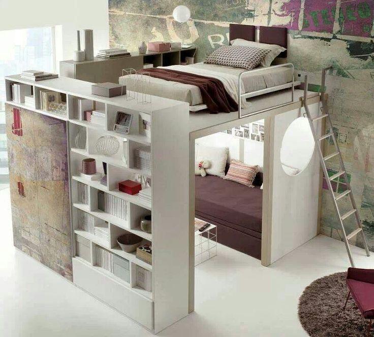 compact living sovrum med vardagsrum under