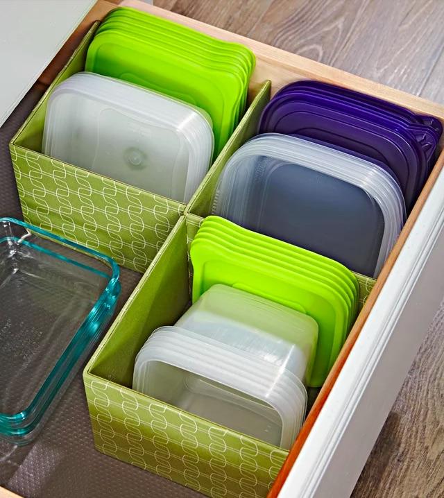 förvaring av matlådor i mindre lådor