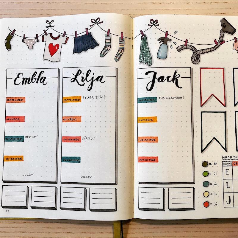 Bullet Journal planering barnen